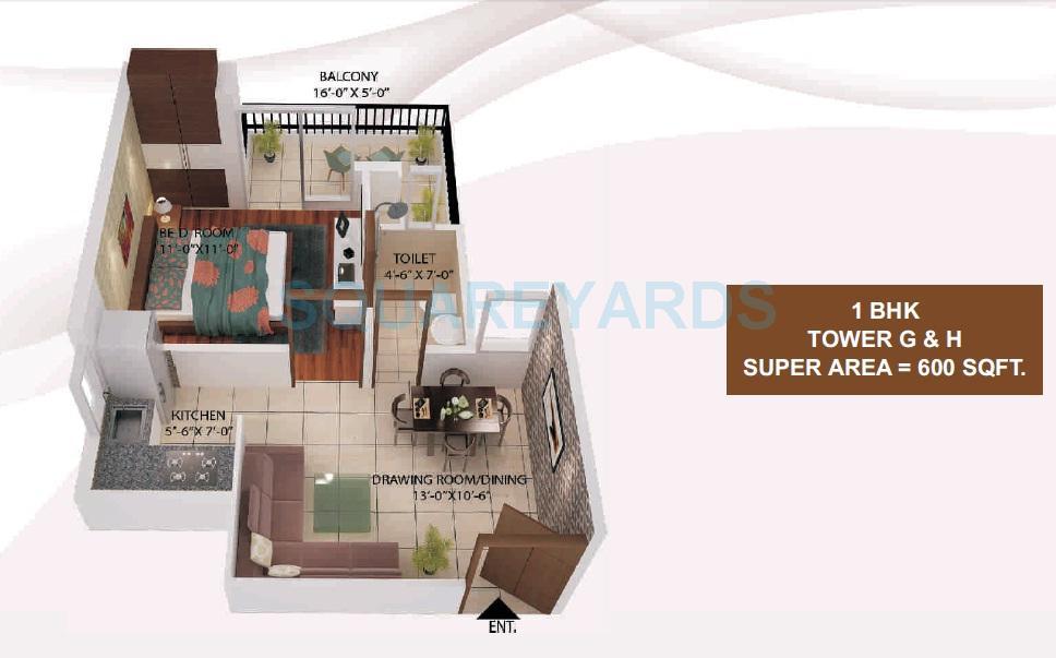 avj heights apartment 1bhk 600sqft 1