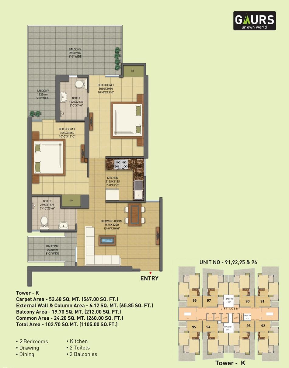 gaur city 7th avenue apartment 2 bhk 1105sqft 20215705175731