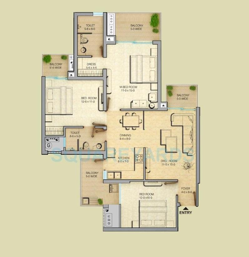 gaur saundaryam apartment 3bhk 1595sqft 71