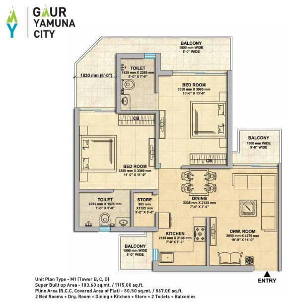 gaur yamuna city 16th park view apartment 2bhk 1115sqft 1