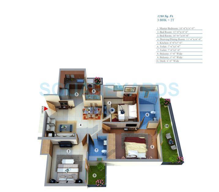 gayatri life apartment 3bhk 1280sqft 1
