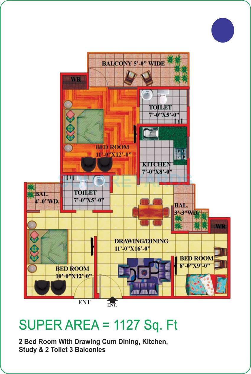 himalaya pride apartment 2bhk st 1127sqft 51