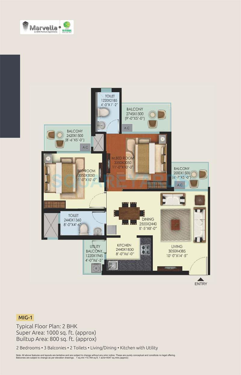 mahagun mywoods apartment 2bhk 1000sqft 1