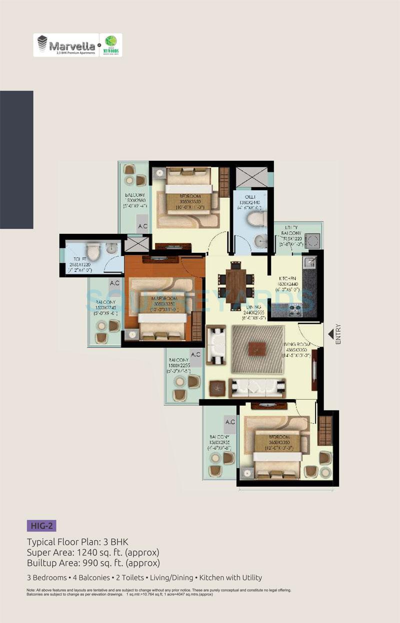 mahagun mywoods apartment 3bhk 1240sqft 1