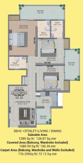 migsun wynn twinz apartment 3bhk 1399sqft 1