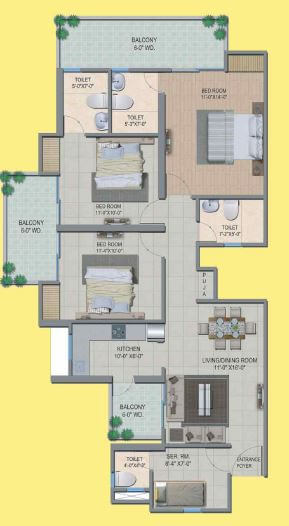 migsun wynn twinz apartment 3bhk 1650sqft 1