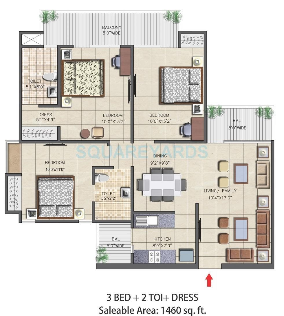 nirala aspire apartment 3bhk 1460sqft 71