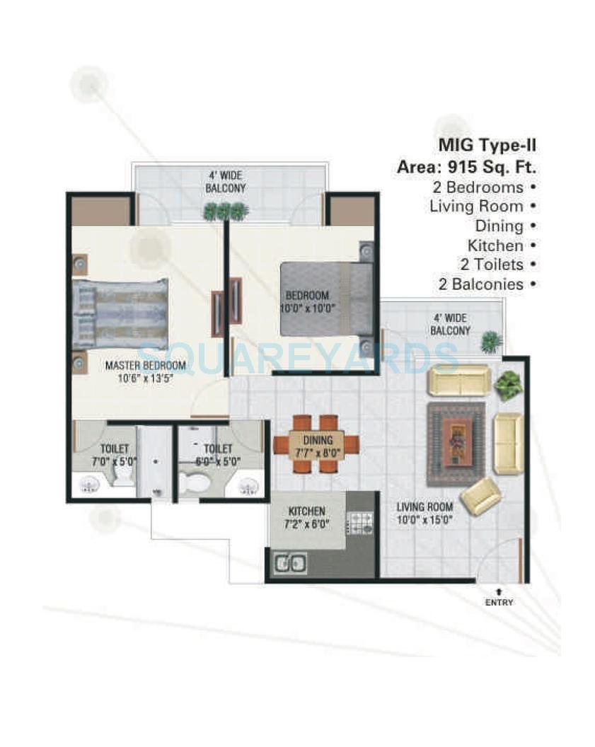 panchsheel greens apartment 2bhk 915sqft 1