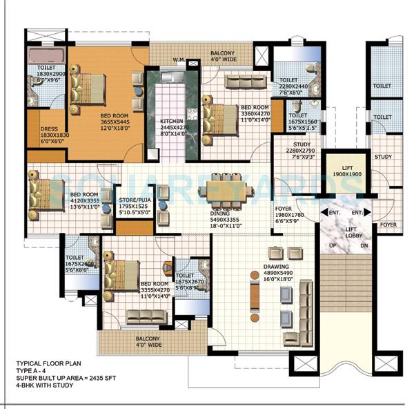 purvanchal heights apartment 4bhk st 2435sqft 1