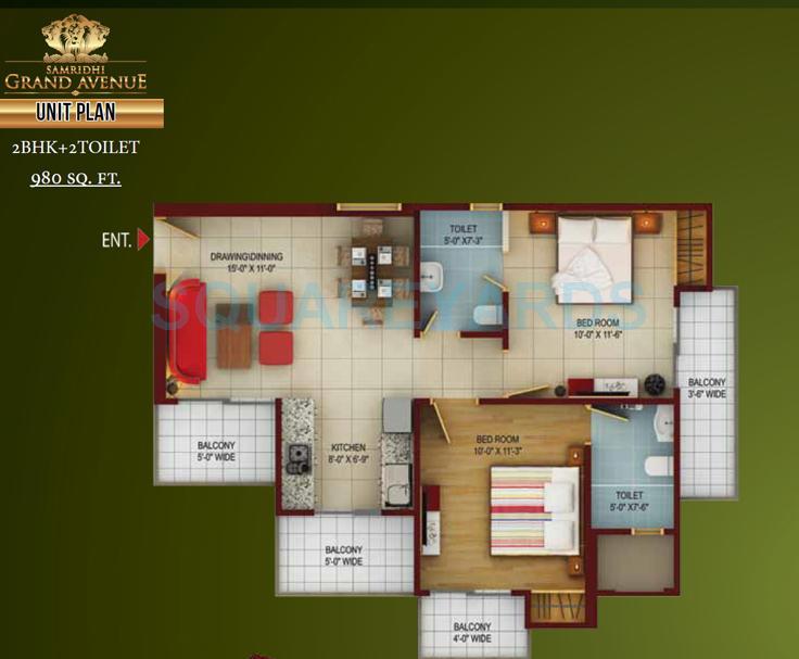 samridhi grand avenue apartment 2bhk 980sqft 1
