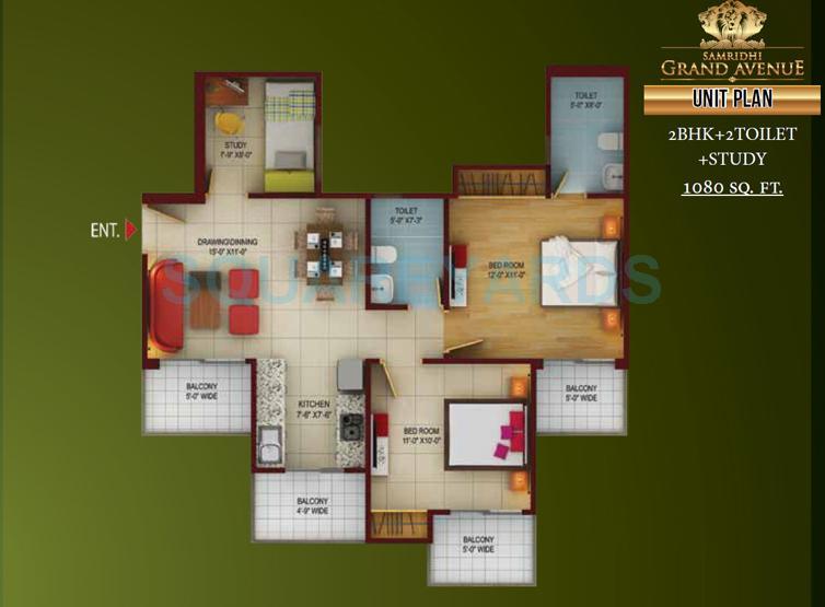 samridhi grand avenue apartment 2bhk sq 1080sqft 1