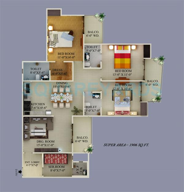 3 Bhk 1906 Sq Ft Apartment For Sale In Supertech Ecovillage Ii At Rs 3204 Sq Ft Greater Noida