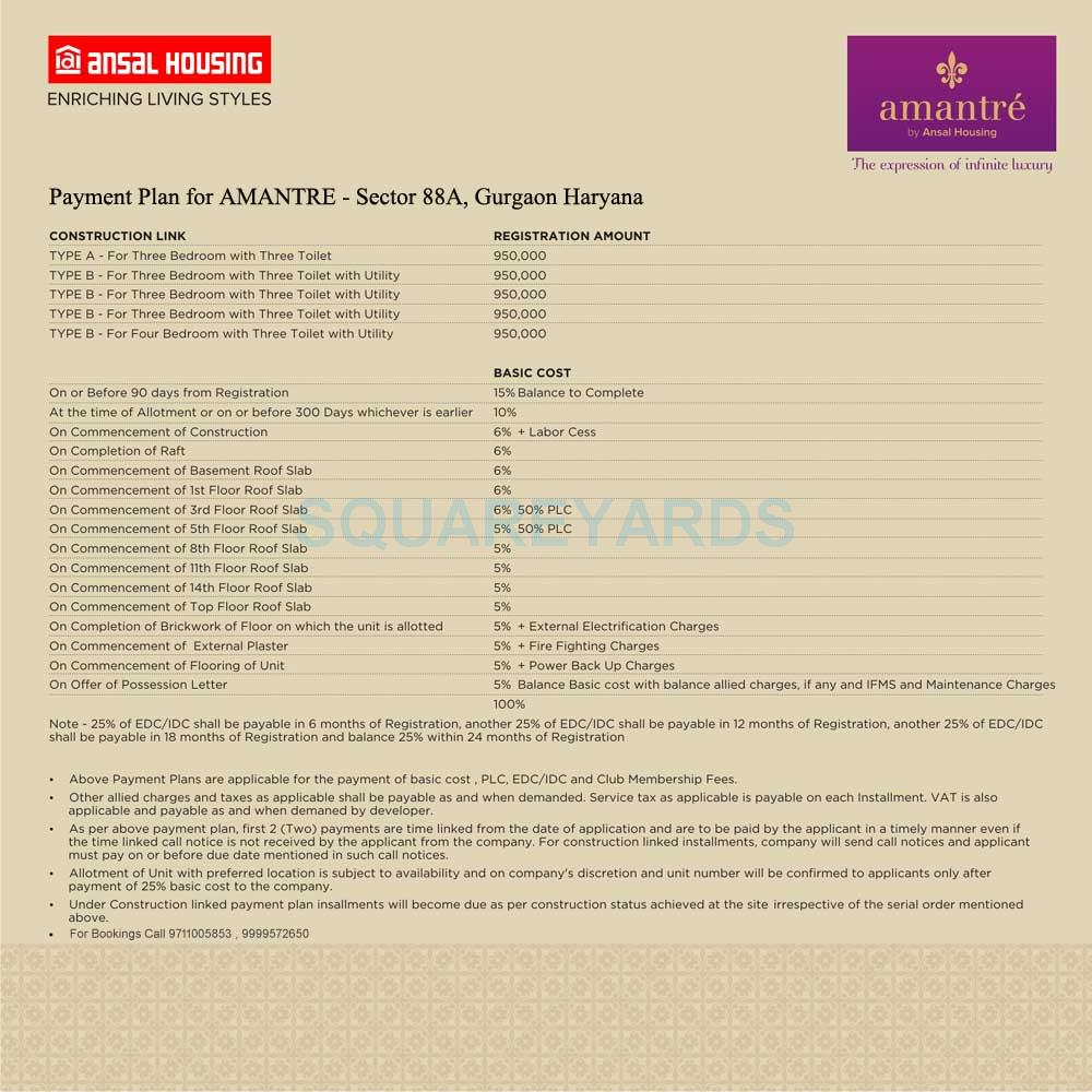 ansal amantre payment plan image1