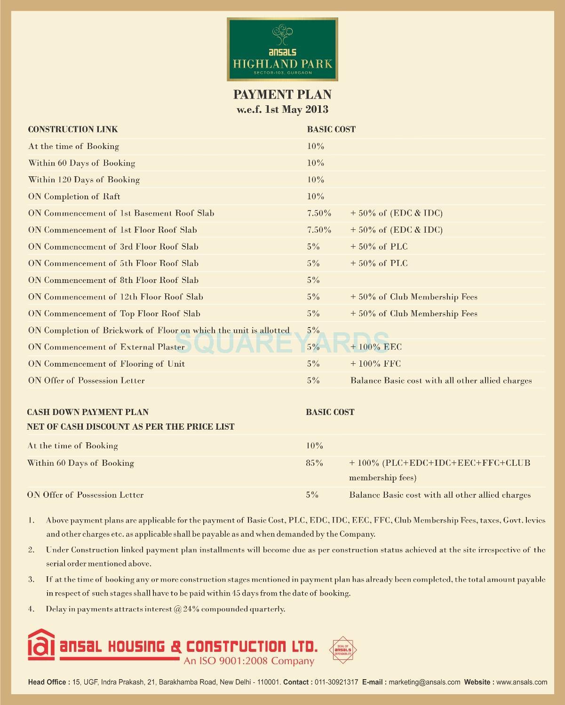 ansal highland park payment plan image1