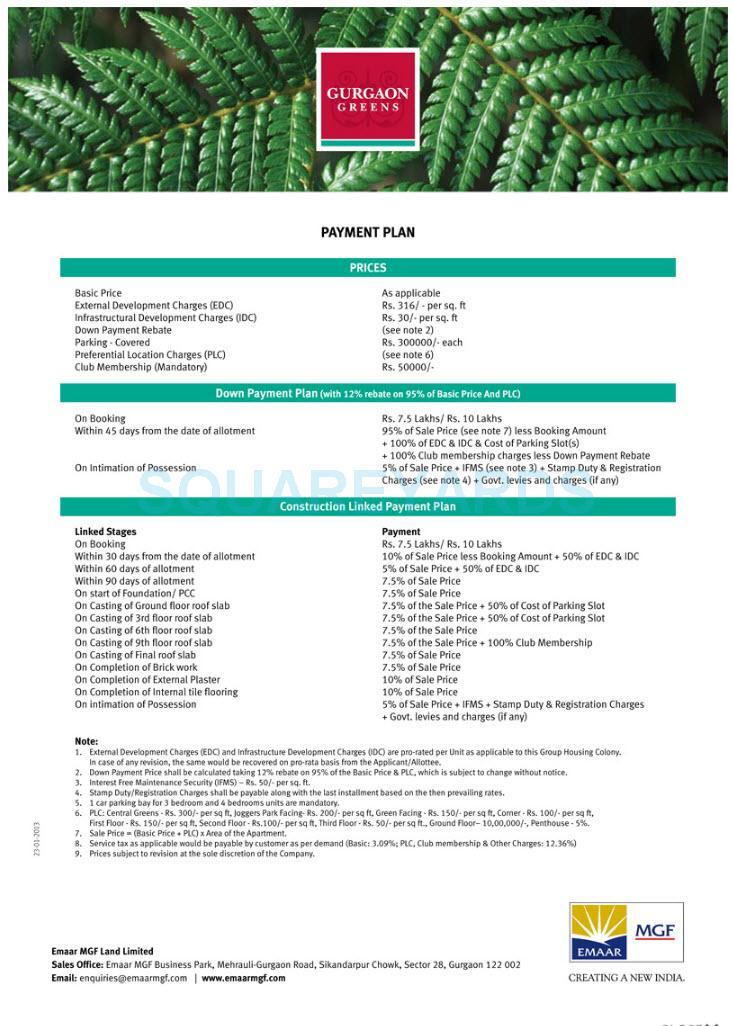 emaar mgf gurgaon greens payment plan image1