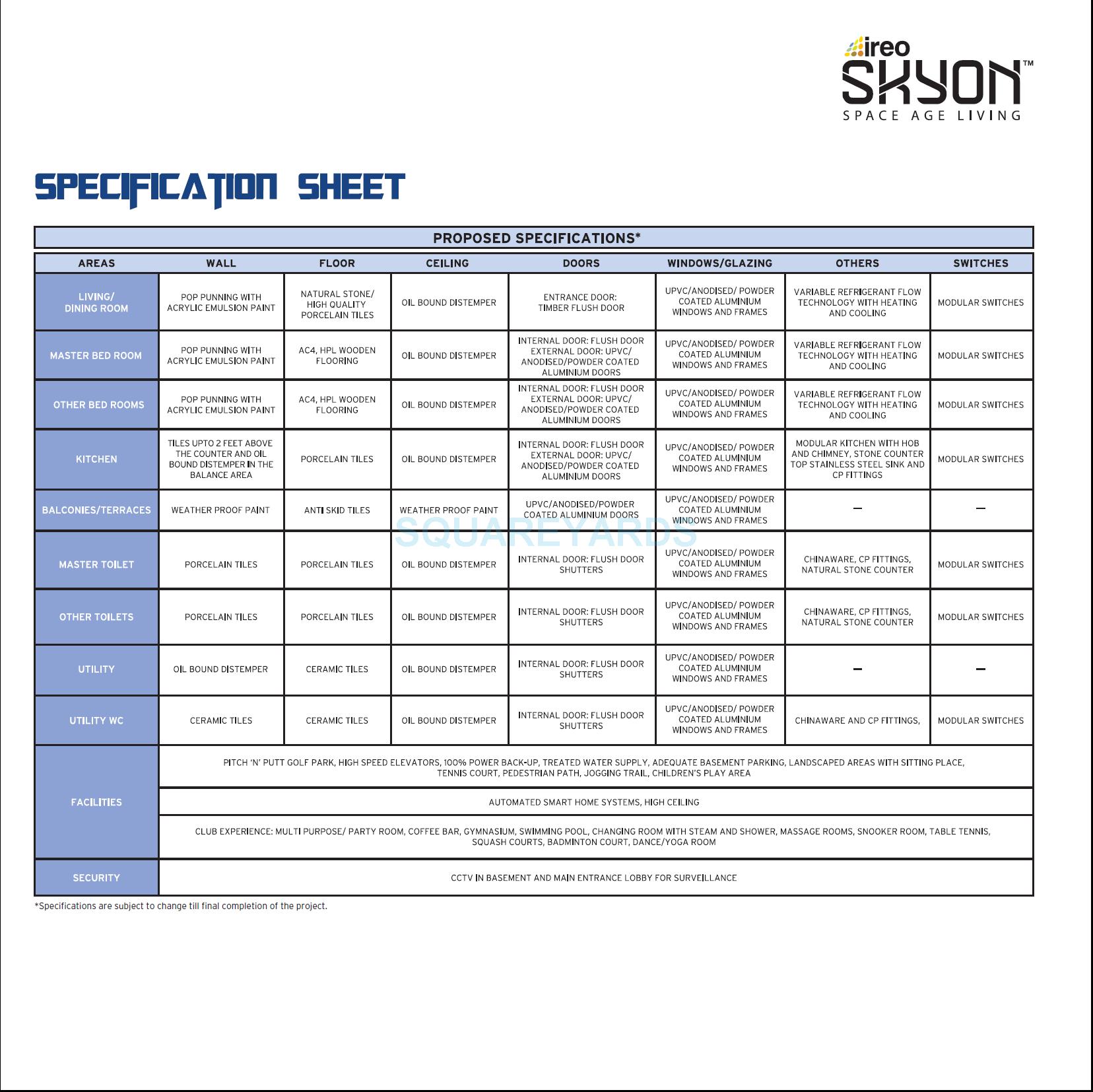 ireo skyon specification1