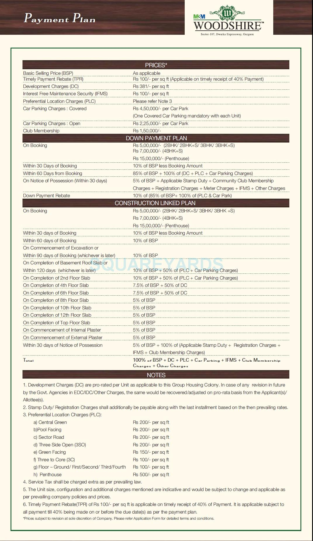 m3m woodshire payment plan image1