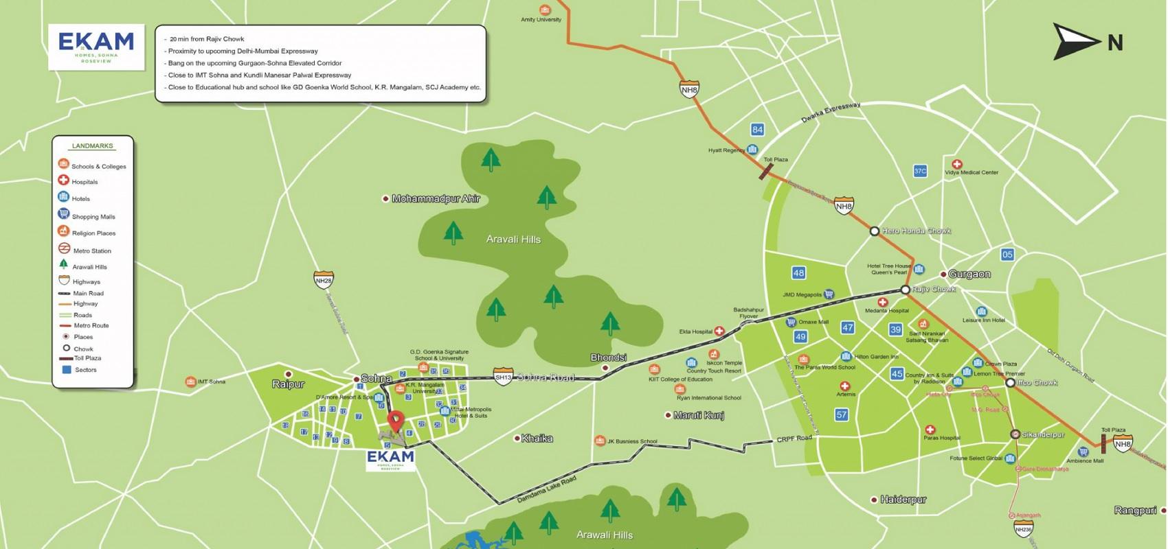 paras ekam homes project location image1
