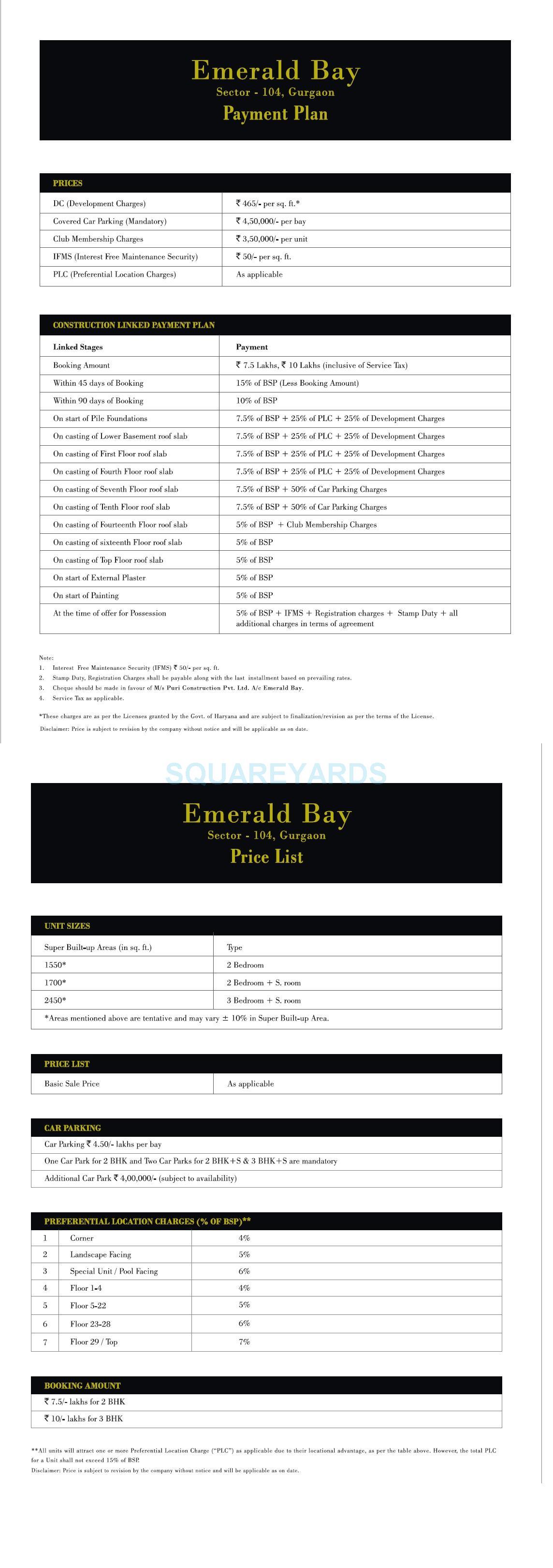 puri emerald bay payment plan image1