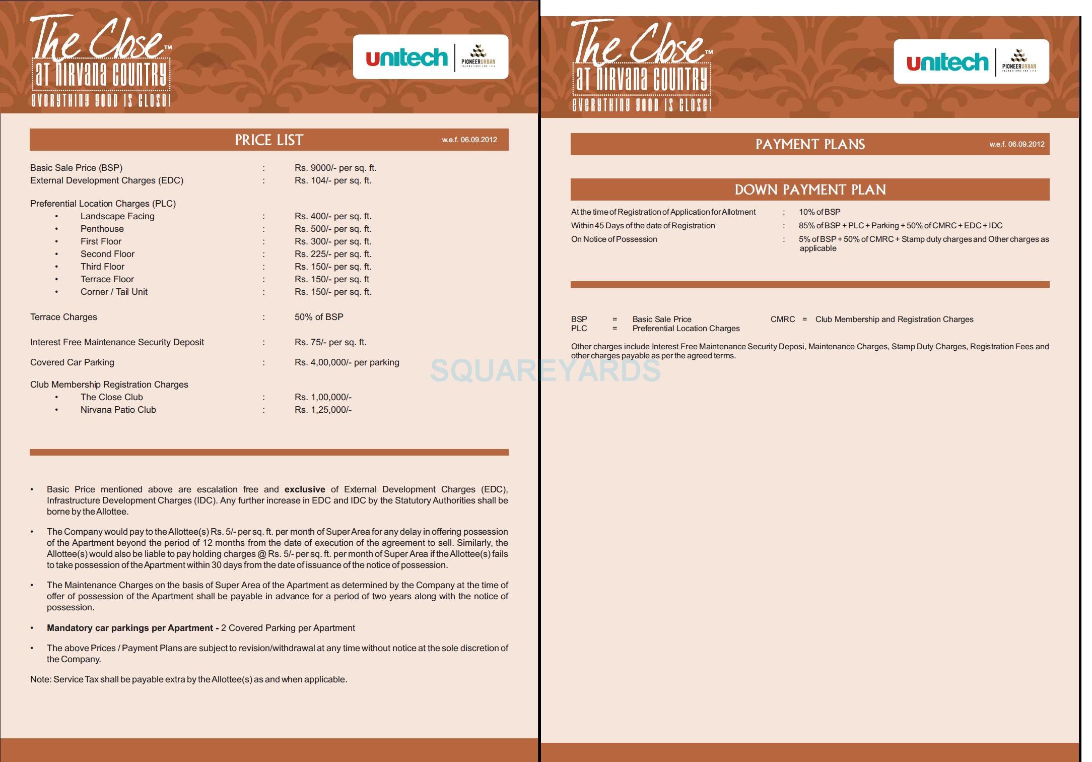 unitech the close north payment plan image1