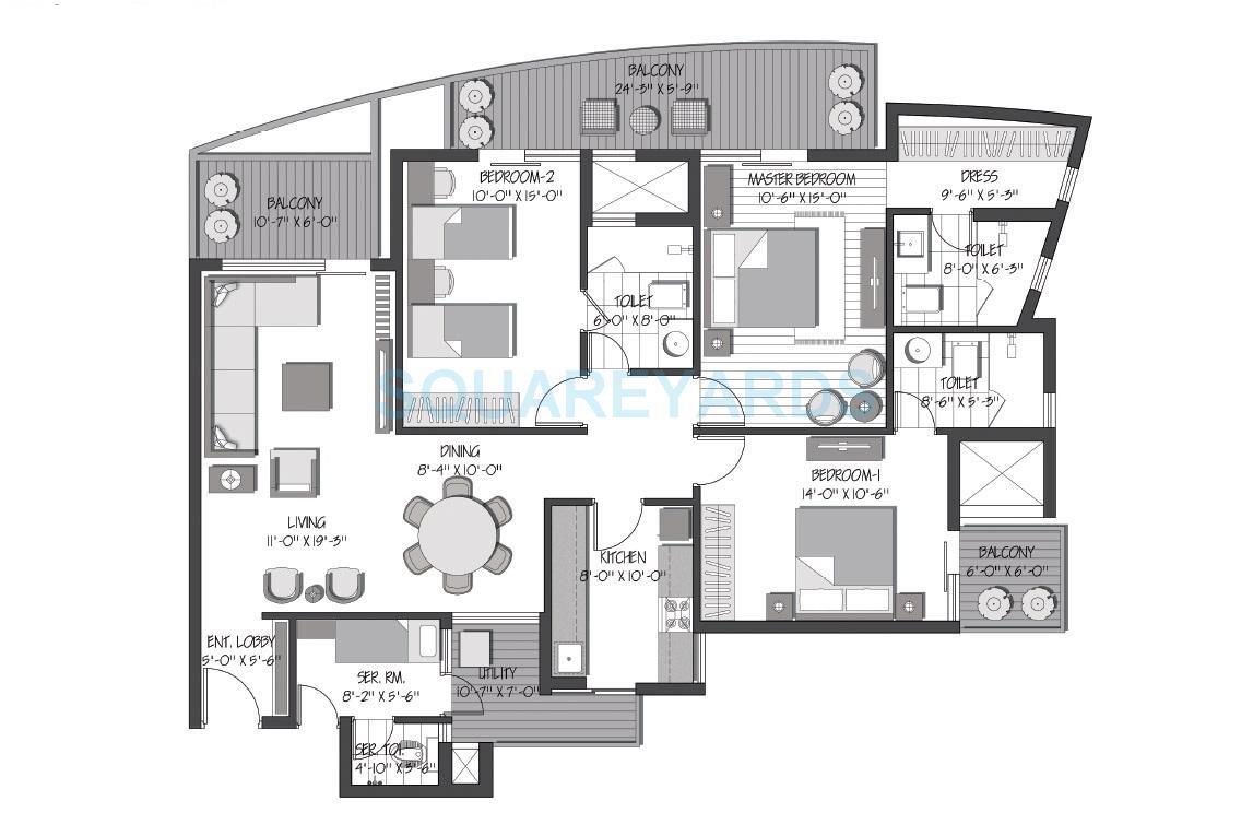 3c orris greenopolis apartment 3bhk 2070sqft 1