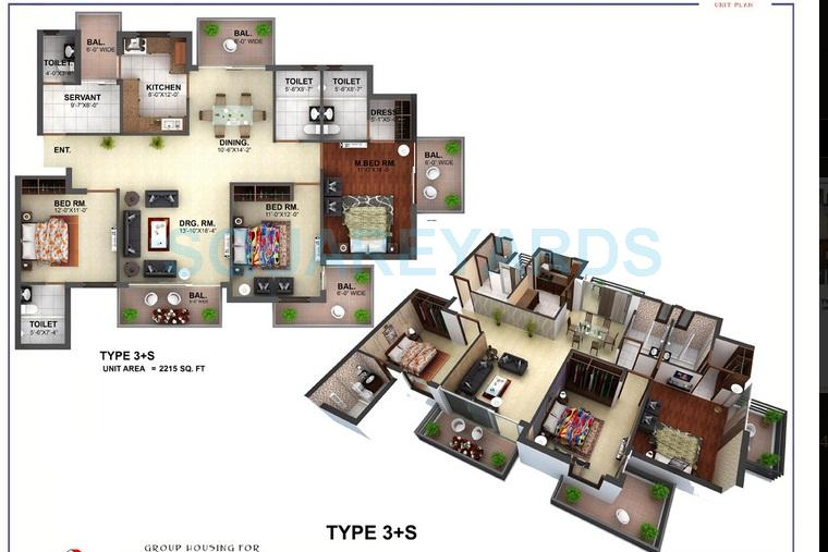 3c orris greenopolis apartment 3bhk sq 2215sqft 1
