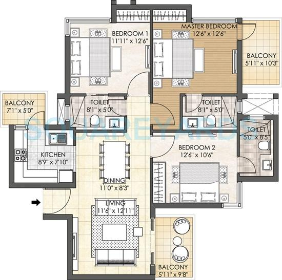3 Bhk 1689 Sq Ft Apartment For Sale In Adani M2k Oyster Grande At Rs 7100 Sq Ft Gurgaon