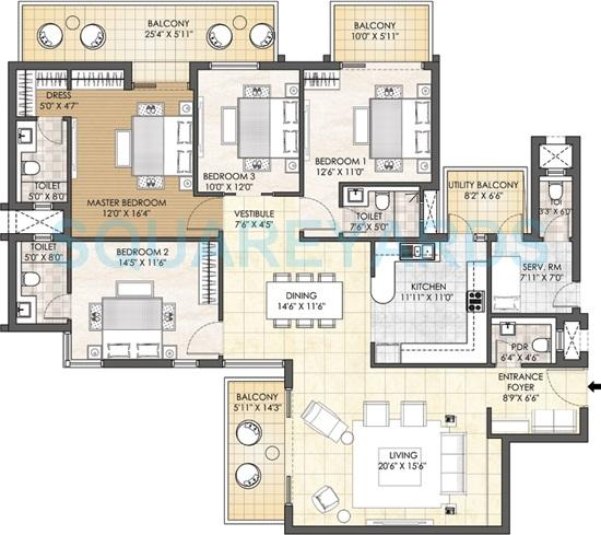 4 Bhk 3198 Sq Ft Apartment For Sale In Adani M2k Oyster Grande At Rs 6000 Sq Ft Gurgaon
