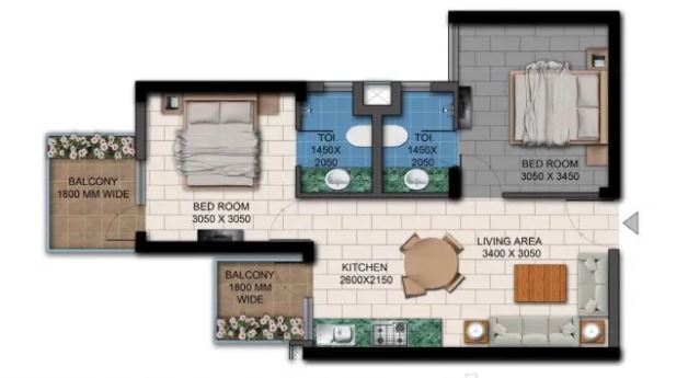 agrante kavyarn homes apartment 2bhk 488sqft 1