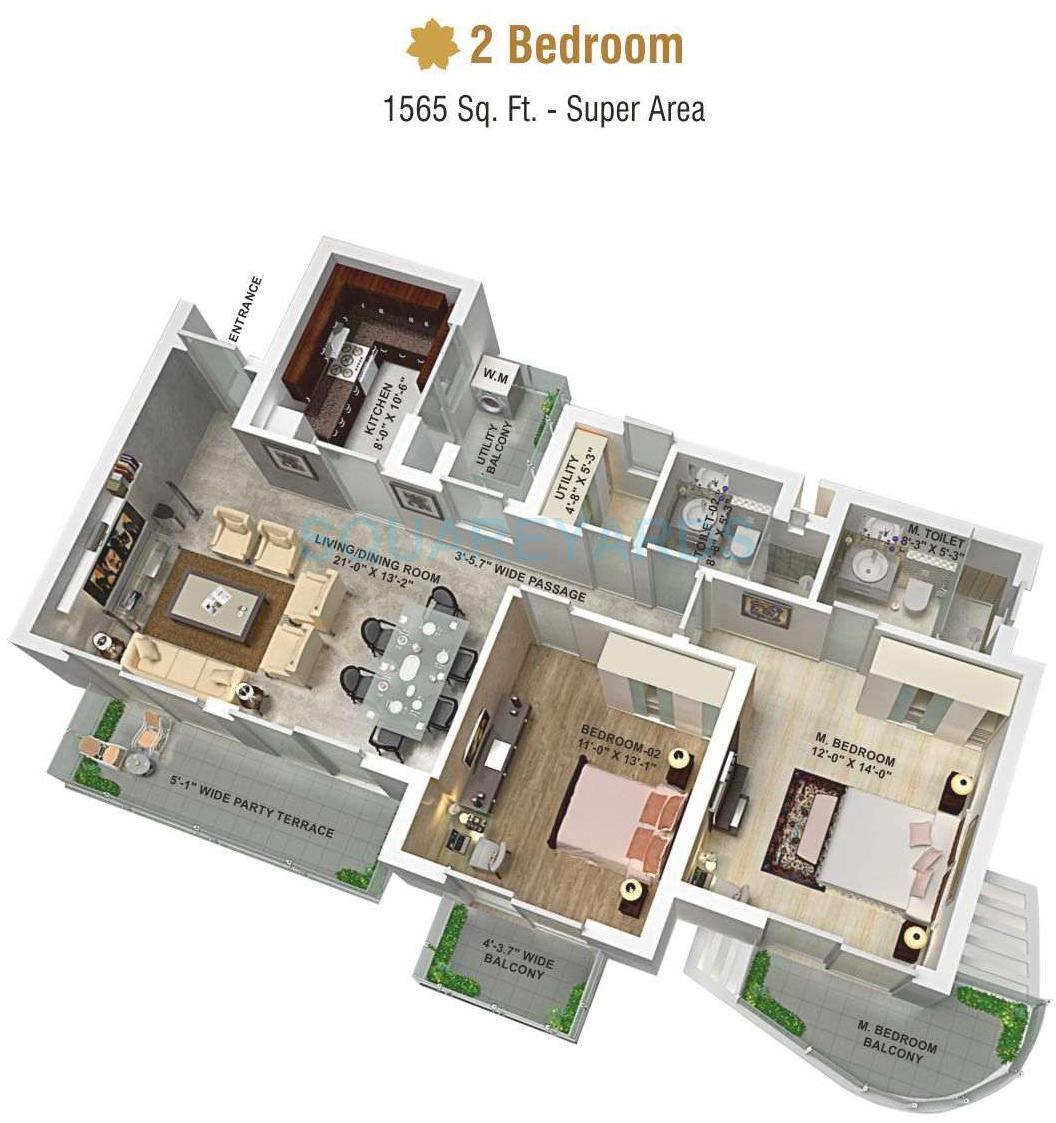 aipl the peaceful homes apartment 2bhk 1565sqft 1