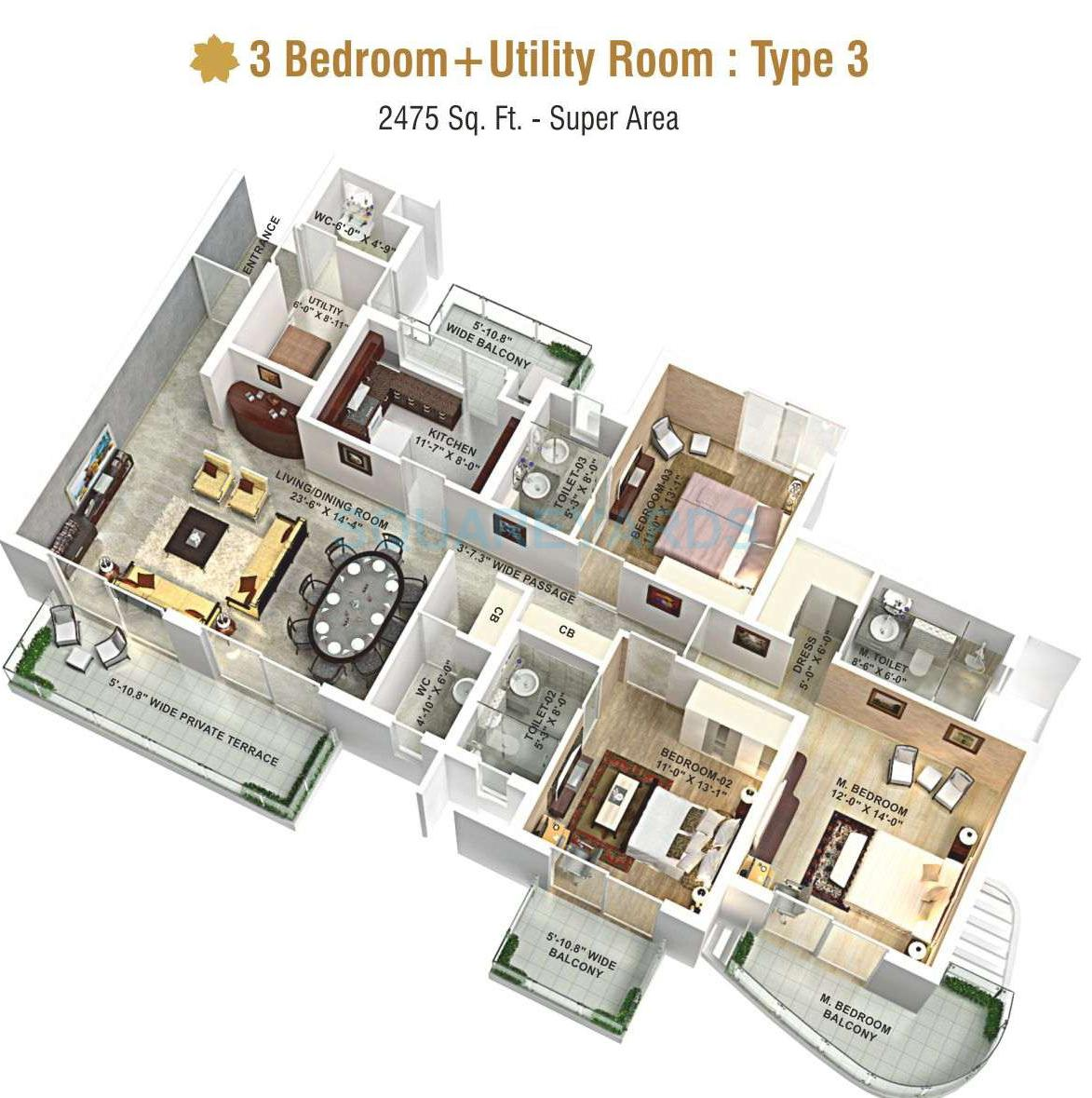 3 Bhk 2475 Sq Ft Apartment For Sale In Aipl The Peaceful Homes At Rs 8574 Sq Ft Gurgaon