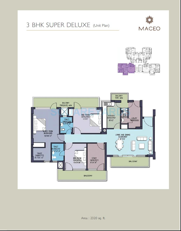 anant raj maceo apartment 3bhk 2320sqft 1