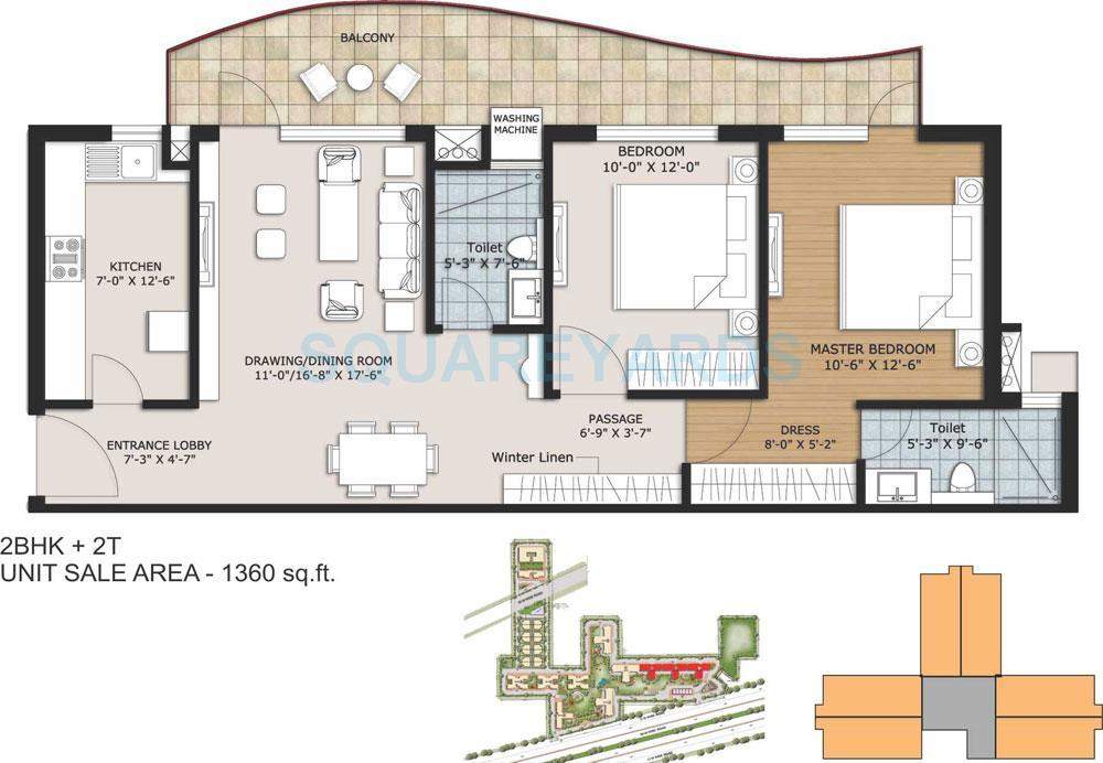 ansal height 2 apartment 2bhk 2t 1360sqft 1
