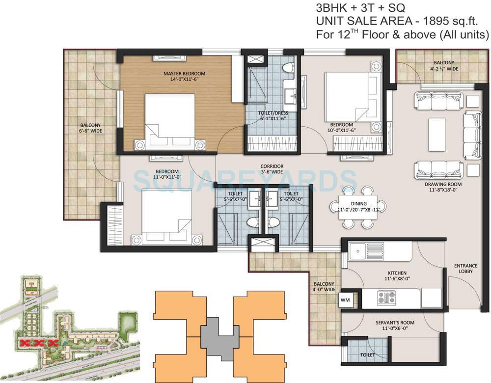ansal height 2 apartment 3bhk 3t sq 1895sqft 1