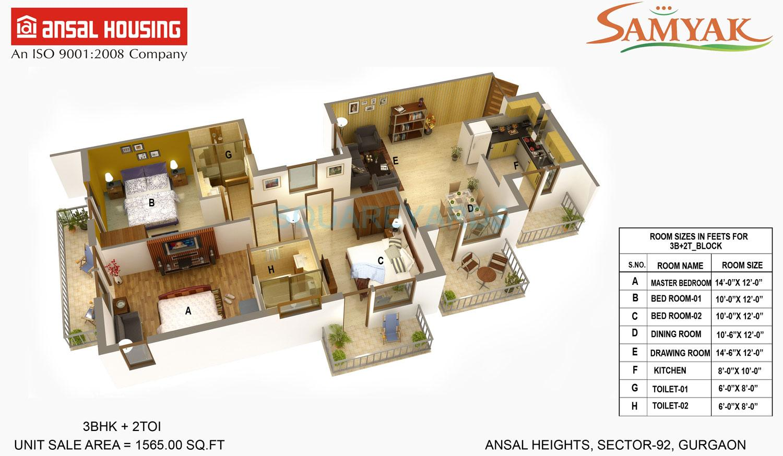 ansal heights apartment 3bhk 1565sqft 1