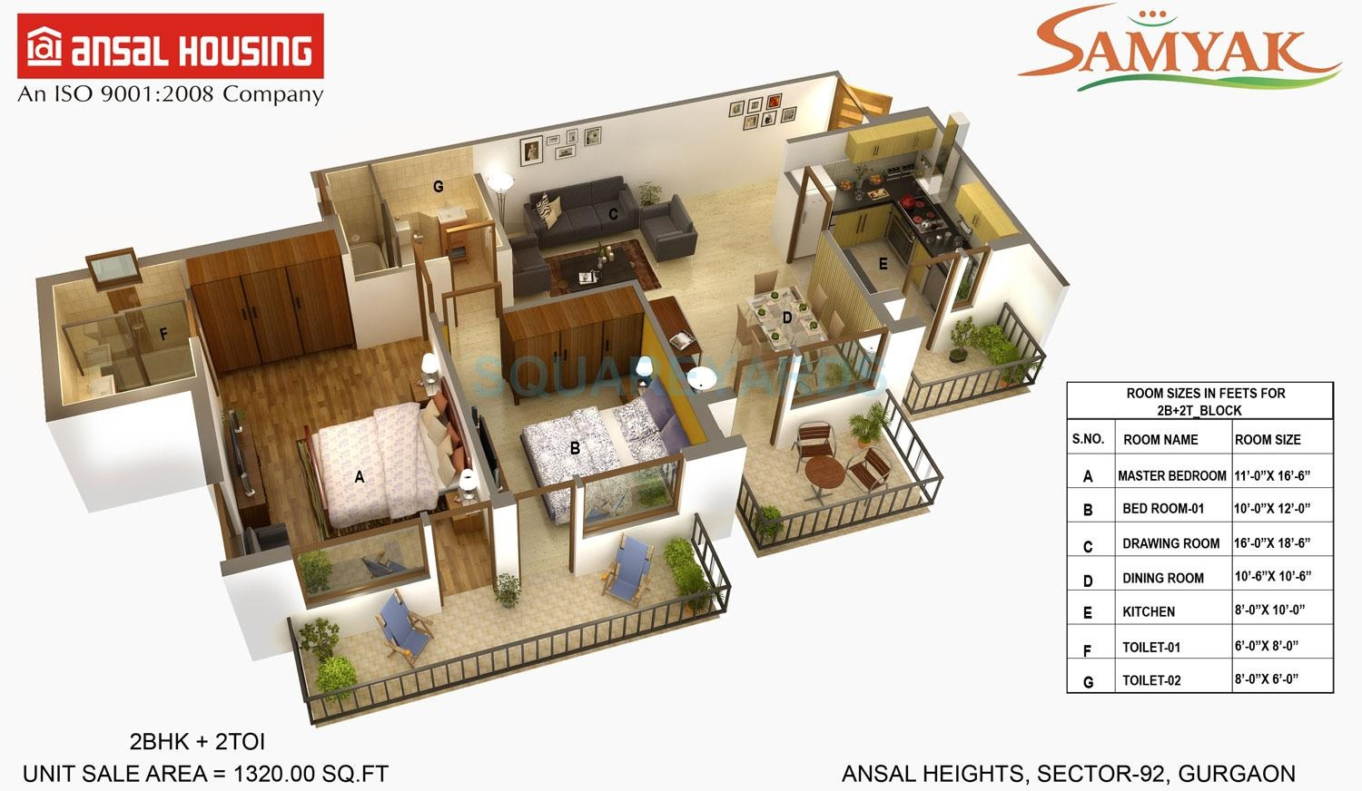 ansal heights gurgaon apartment 2bhk 1320sqft 41