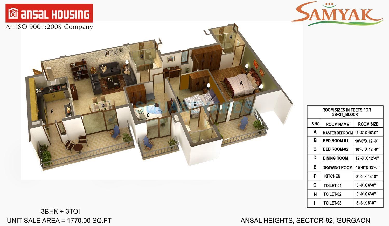 ansal heights gurgaon apartment 3bhk 1770sqft 41