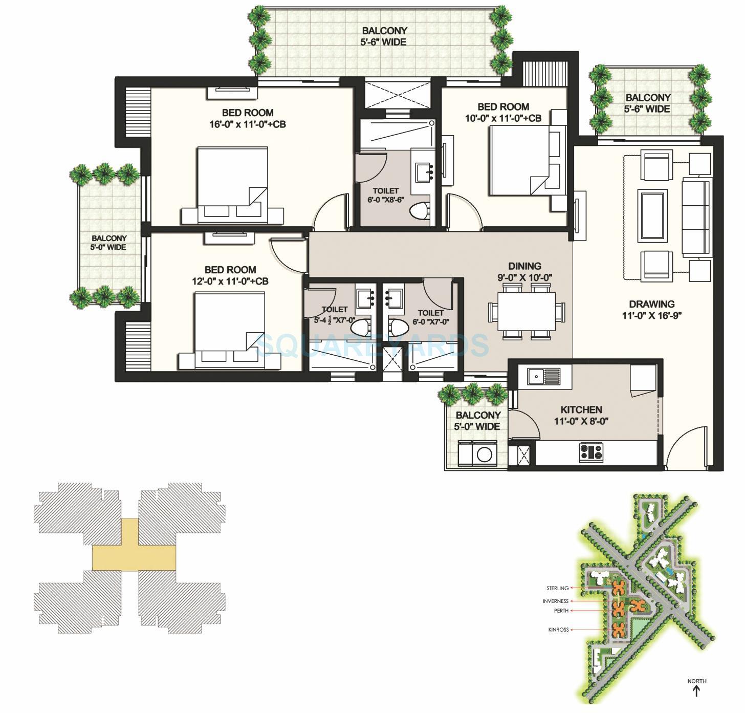 ansal highland park apartment 3bhk 1762sqft 1