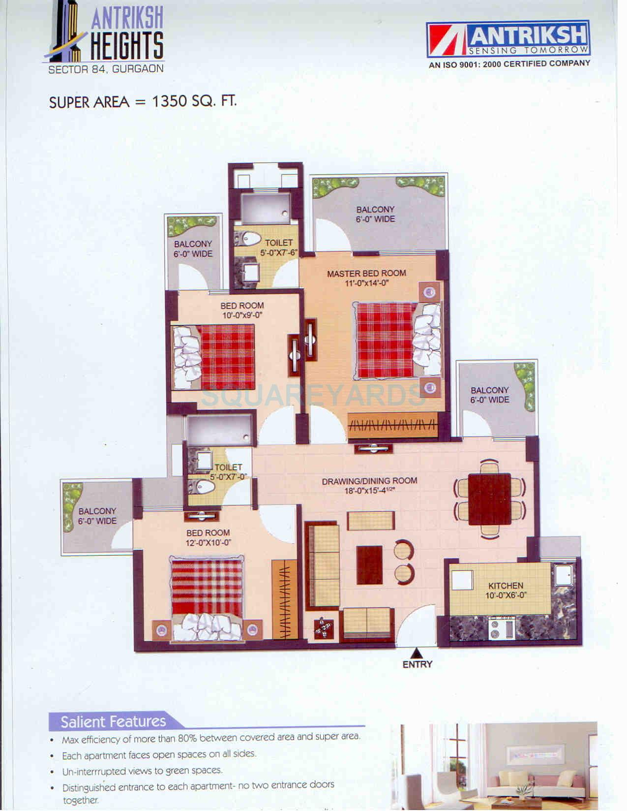 antriksh heights apartment 3bhk 1350sqft 1