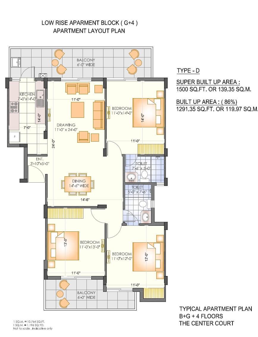 ashiana the center court prime apartment 3bhk 1500sqft 1