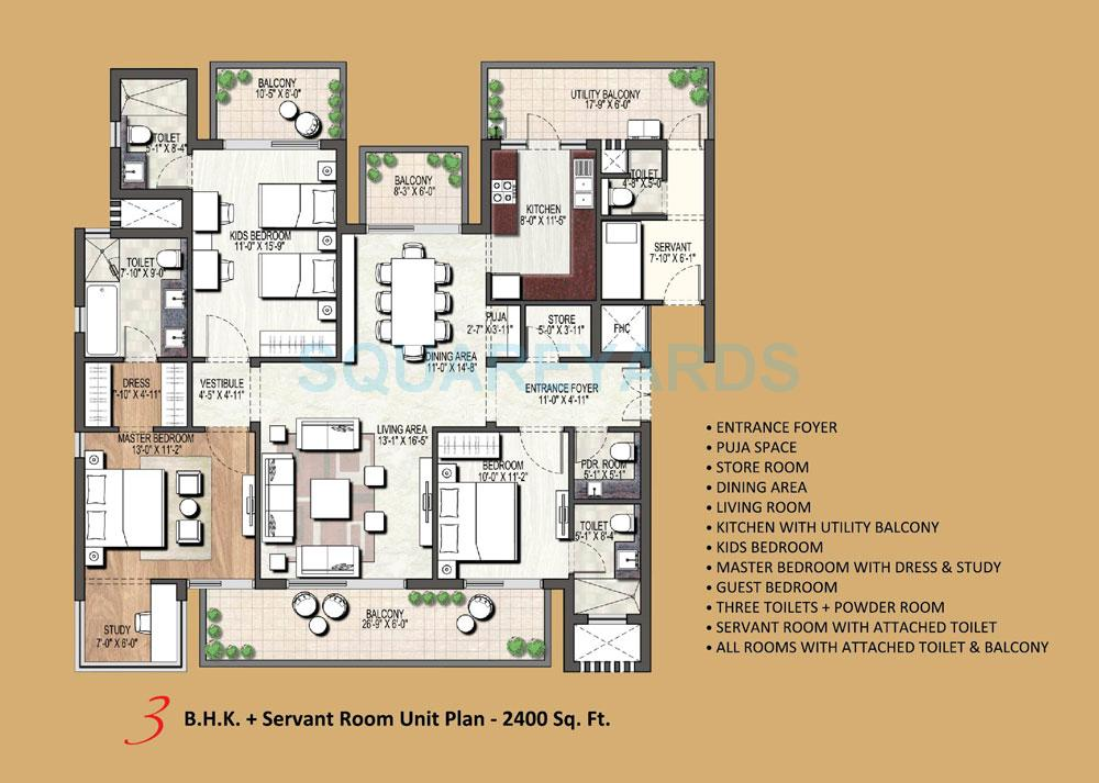 3 bhk 2400 sq ft apartment for sale in assotech orion tower at rs 3 bhk 2400 sq ft apartment floor plan malvernweather Gallery