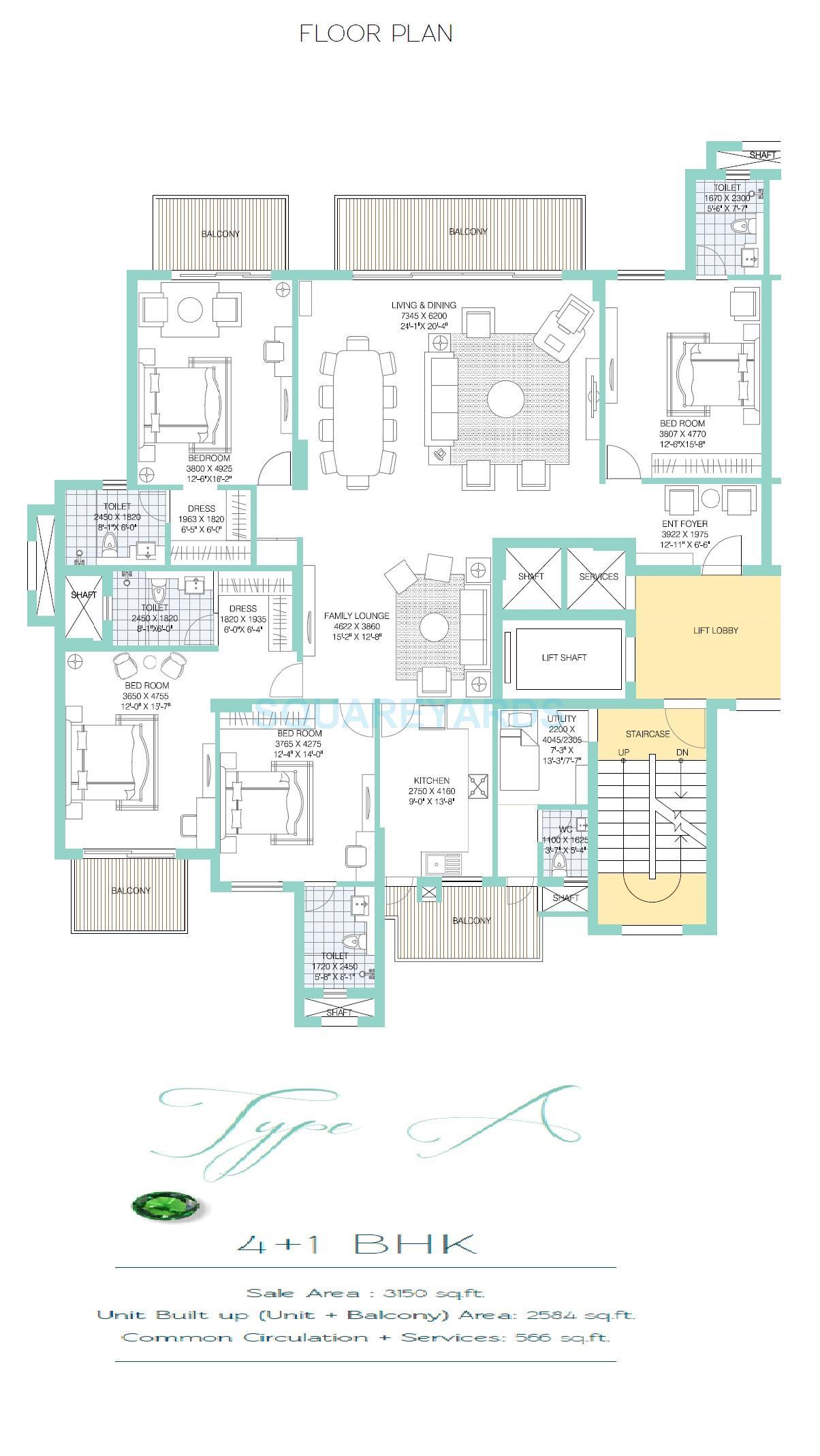 ats tourmaline apartment 4bhk type a 3150sqft 1