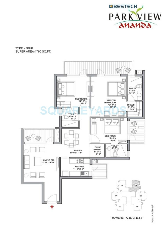 bestech park view ananda apartment 3bhk 1790sqft 61
