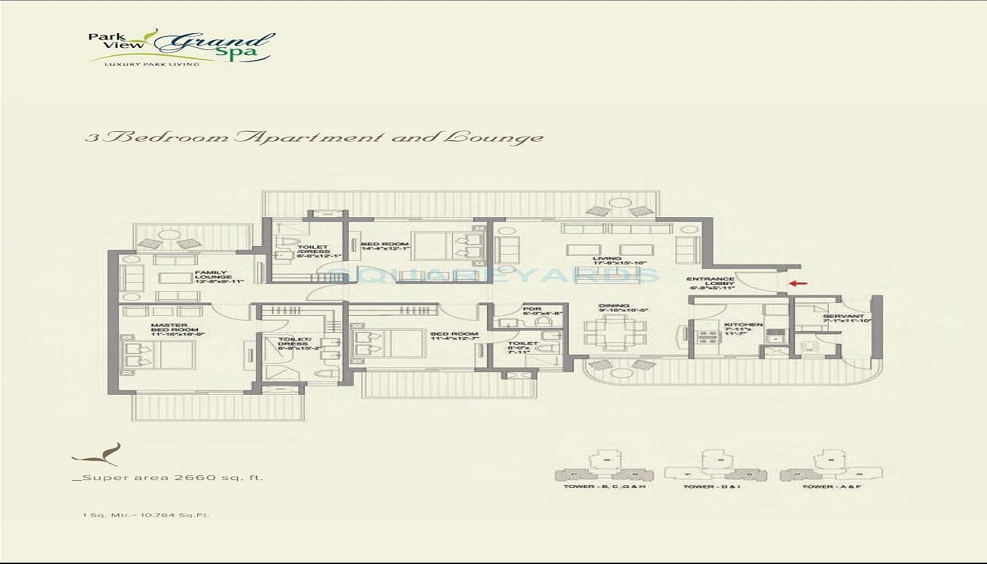 bestech park view grand spa apartment 3bhk 2660sqft 61
