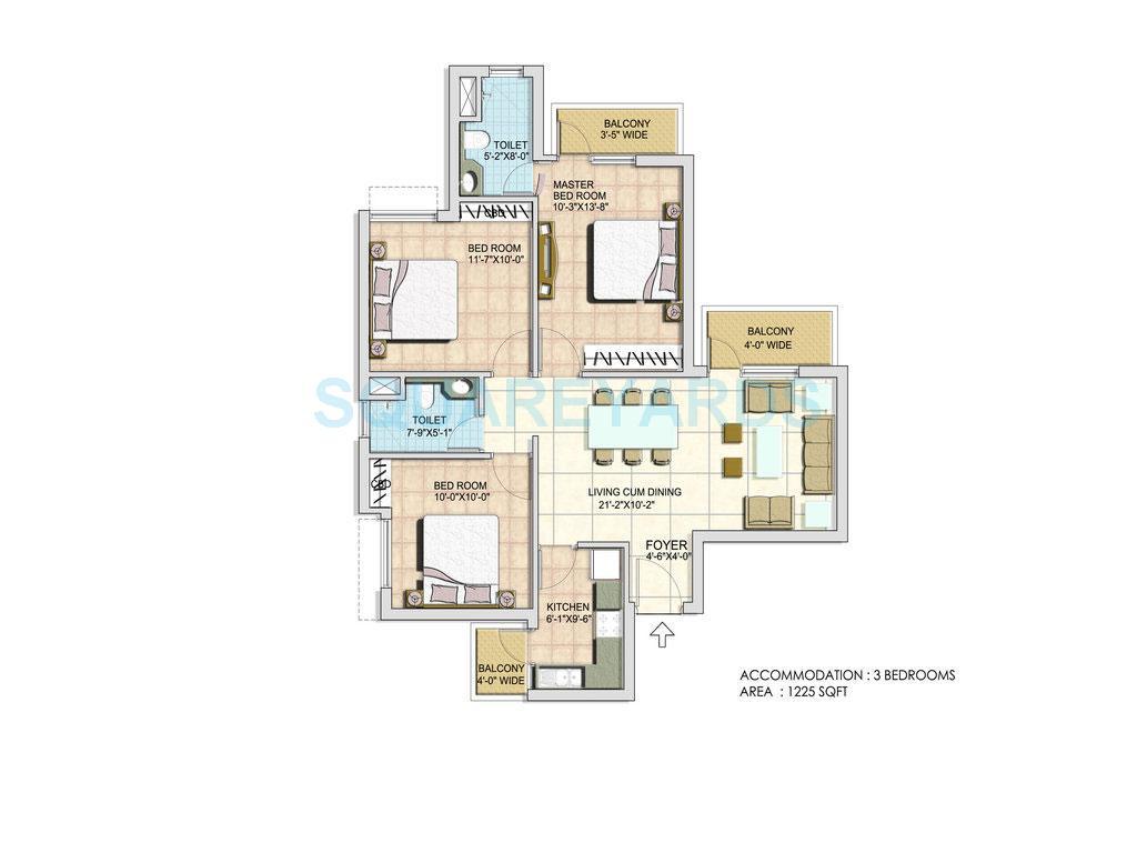 bptp spacio park serene apartment 3bhk 1225sqft 1