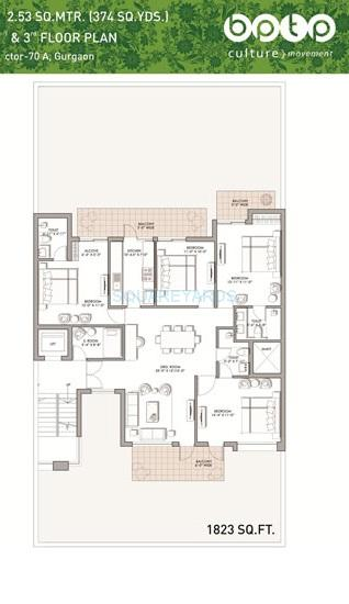 bptp the pedestal ind floor 4bhk 1823sqft 1