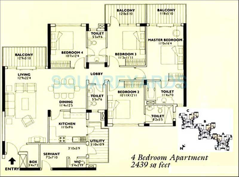 Image For 4 Bhk Floor Plans Of Central Park I In Sector 42 Gurgaon