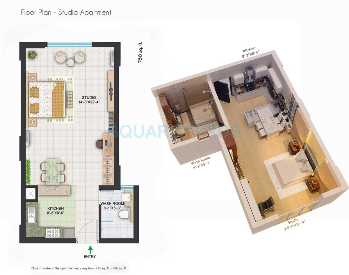 1 Bhk 750 Sq Ft Apartmentstudio For Sale In Central Park