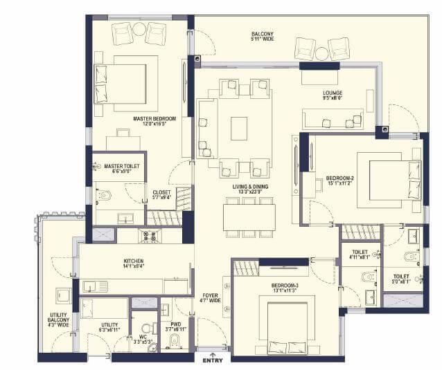 conscient hines elevate apartment 3bhk 1432sqft 1