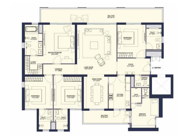 conscient hines elevate apartment 4bhk 1855sqft 1
